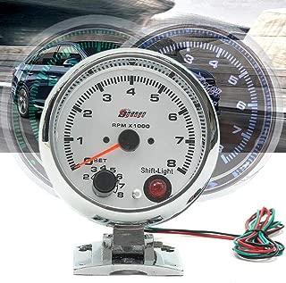 0~8000RPM 7 Colors LED Backlight Tachometer Gauge WhiteWorks On 4 6 8 Cylinder Engines Universal Fits 12V Petrol Vehicle