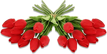 Ezflowery 20 Heads Artificial Tulips Flowers Real Touch Arrangement Bouquet for Home Room Office Party Wedding Decoration, Excellent Gift Idea for Mothers Day (20, Red)