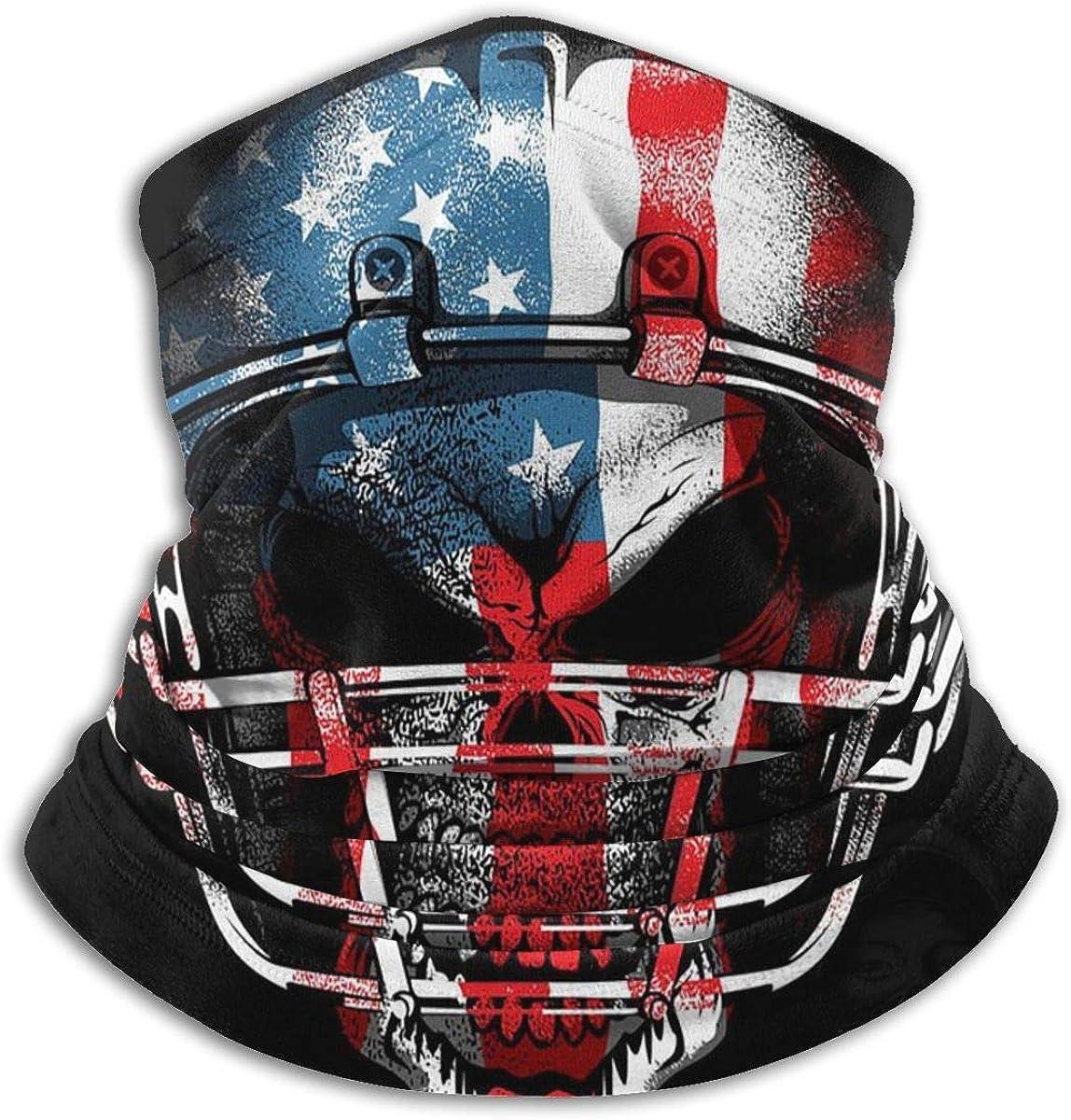 CLERO& Scarf Fleece Neck Warmer Football Helmet Skull American Flag Windproof Outdoor Headwear Comfortable Neck Gaiter Warmer Face Mask for Cold Weather Winter Outdoor Sports