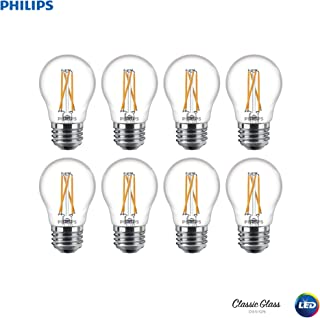 Philips 536649 LED Dimmable A15 Clear Filament Glass Light Bulb with Warm Glow Effect: 500-Lumens, 2700-2200 Kelvin, 5.5 (60-Watt Equivalent), E26 Medium Screw Base, 8 Pack, 8 Piece