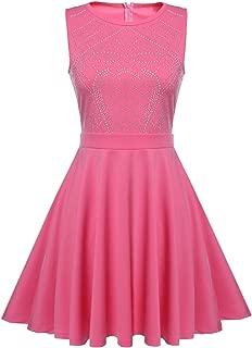 Women Sleeveless Rhinestone Embellished A Line Flared Dress