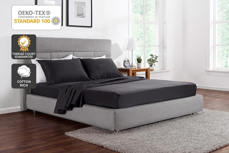 Ovela 1000TC Cotton Rich Luxury Sheet Set (Queen, Charcoal)