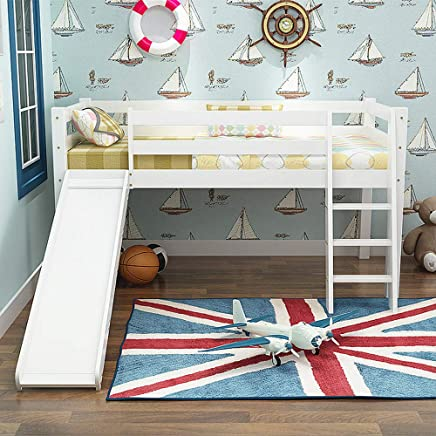 ALBB Solid wood child Slide bed High and low bed Children s Baby Cot Bed Loft Bed Kids with slatted Bed