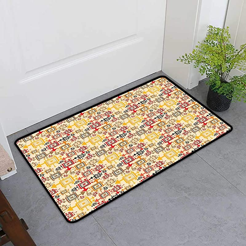 TableCovers Home Dog Cat Mat Geometric Decorative Doormats For Bedroom Fun Squares Digital Creative Dimensional Style Artistic Trippy Mathematical Forms Multicolor H16 X W24