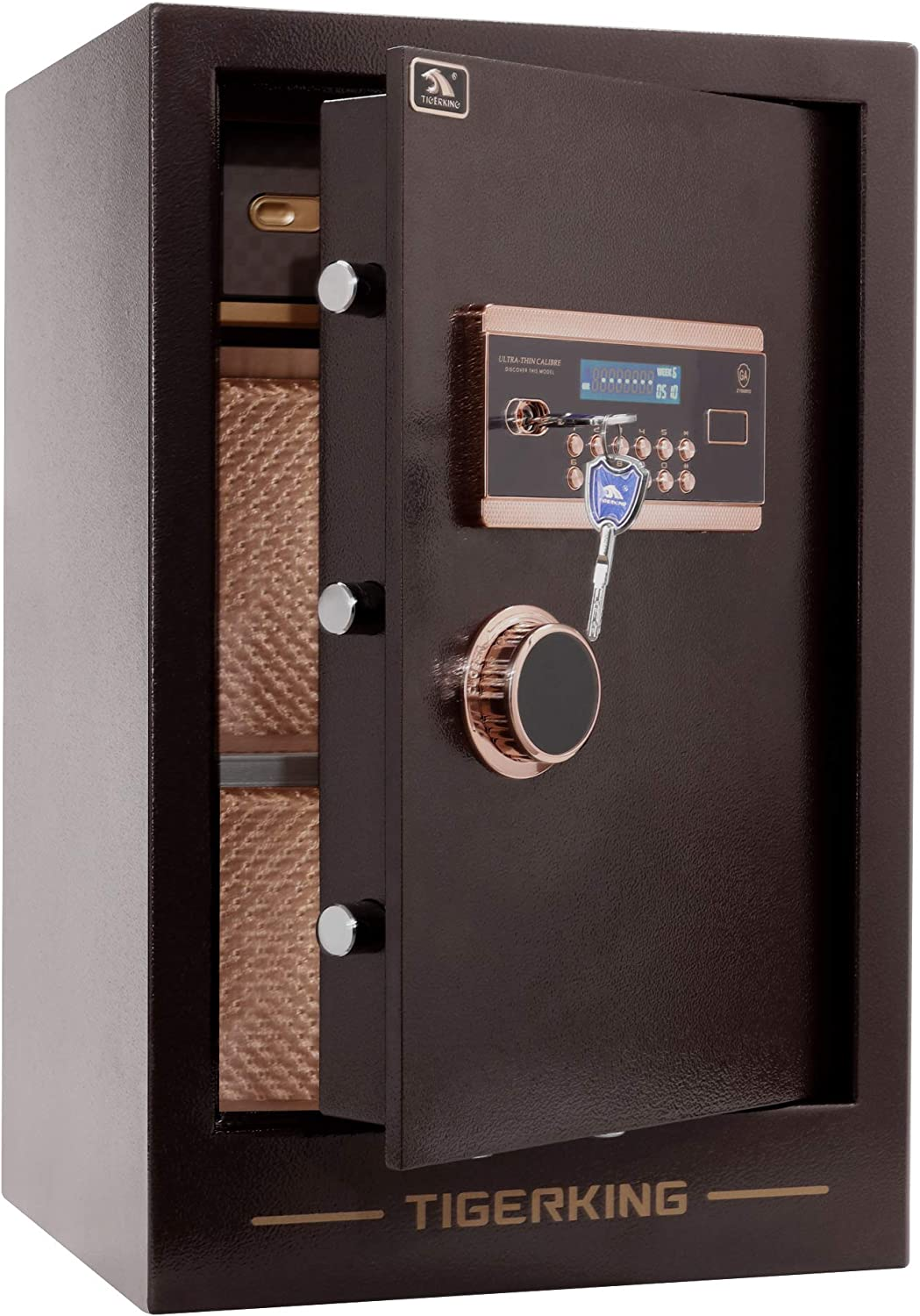 TIGERKING Burglary 3.47 Cubic Feet Digital Security Safe Box with Double Safety Key Lock and Password Safes