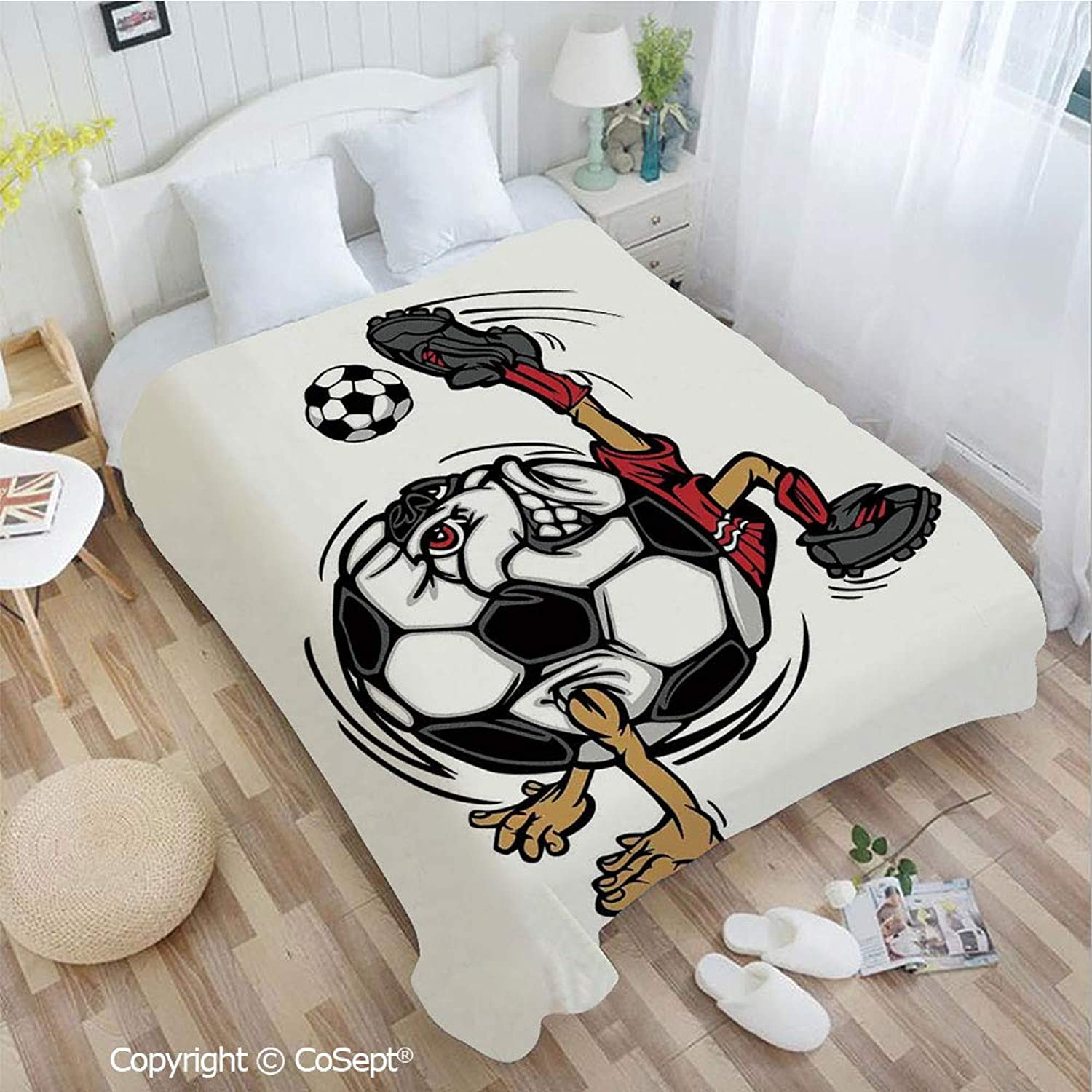 Lightweight Cozy Flannel Blanket,Soccer Football Player Cartoon Character Kicking Playing Exercising Theme,fit Couch Sofa Suitable for All Season(72.83  x 78.74 ),