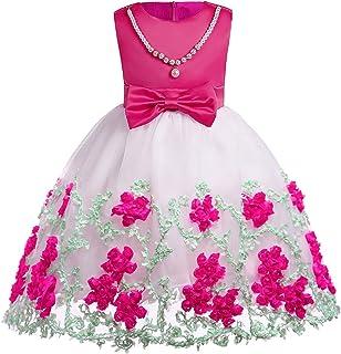 YLQ メッシュ刺繍ガールズドレスメッシュガーゼドレスガールズドレスガーゼ誕生日パーティードレスロングスカートドレス3-9歳の王女のドレス (色 : ローズレッド, サイズ : 130#)