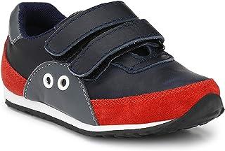 Tuskey Boy's Genuine Leather Comfortable Antiskid Hook & Loop Fastener Jogging Sneaker Shoes for Kids, Blue