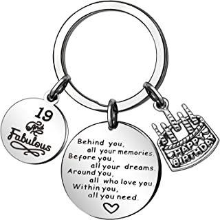 CAROMAY Birthday Cake Keychain Rings Charm Key Chain Tags Friendship Family Gift Women Men Son Daughter