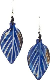 Organic Tagua Napo Leaf Earrings Ecuador Royal Blue