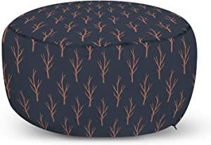 Ambesonne Woodland Ottoman Pouf, Leafless Autumn Trees in Pastel Tones Repeating Nature Botany Print, Decorative Soft Foot Rest with Removable Cover Living Room and Bedroom, Dark Night Blue Rust