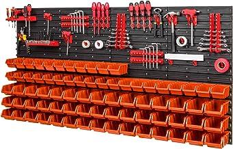 Opbergsysteem - 1544 x 780 mm - wandrek 75x stapelboxen en 38 stuks gereedschapshouder | wandplaten met accessoires oranje
