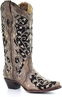 CORRAL Womens Brown Inlay & Flowered Embroidery & Studs & Crystals, Size: 9, Width: M (A3569-LD-M-9)