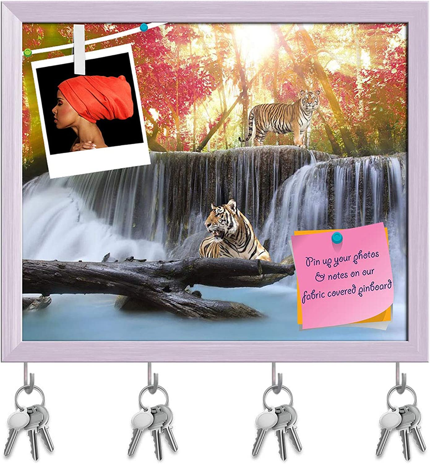 Artzfolio Tiger in The Jungle Key Holder Hooks   Notice Pin Board   White Frame 19.2 X 16Inch