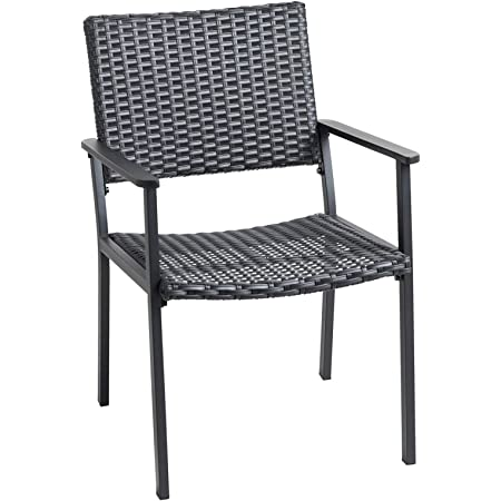 C-Hopetree Outdoor Dining Chair for Outside Patio Tables, Metal Frame, Black All Weather Wicker