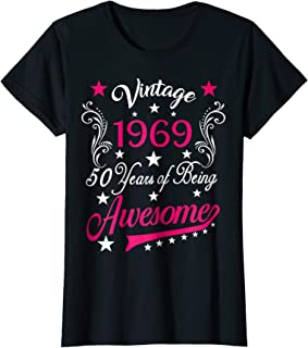 Womens Vintage 1969 50th Birthday Gift 50 Years Old Funny T Shirt