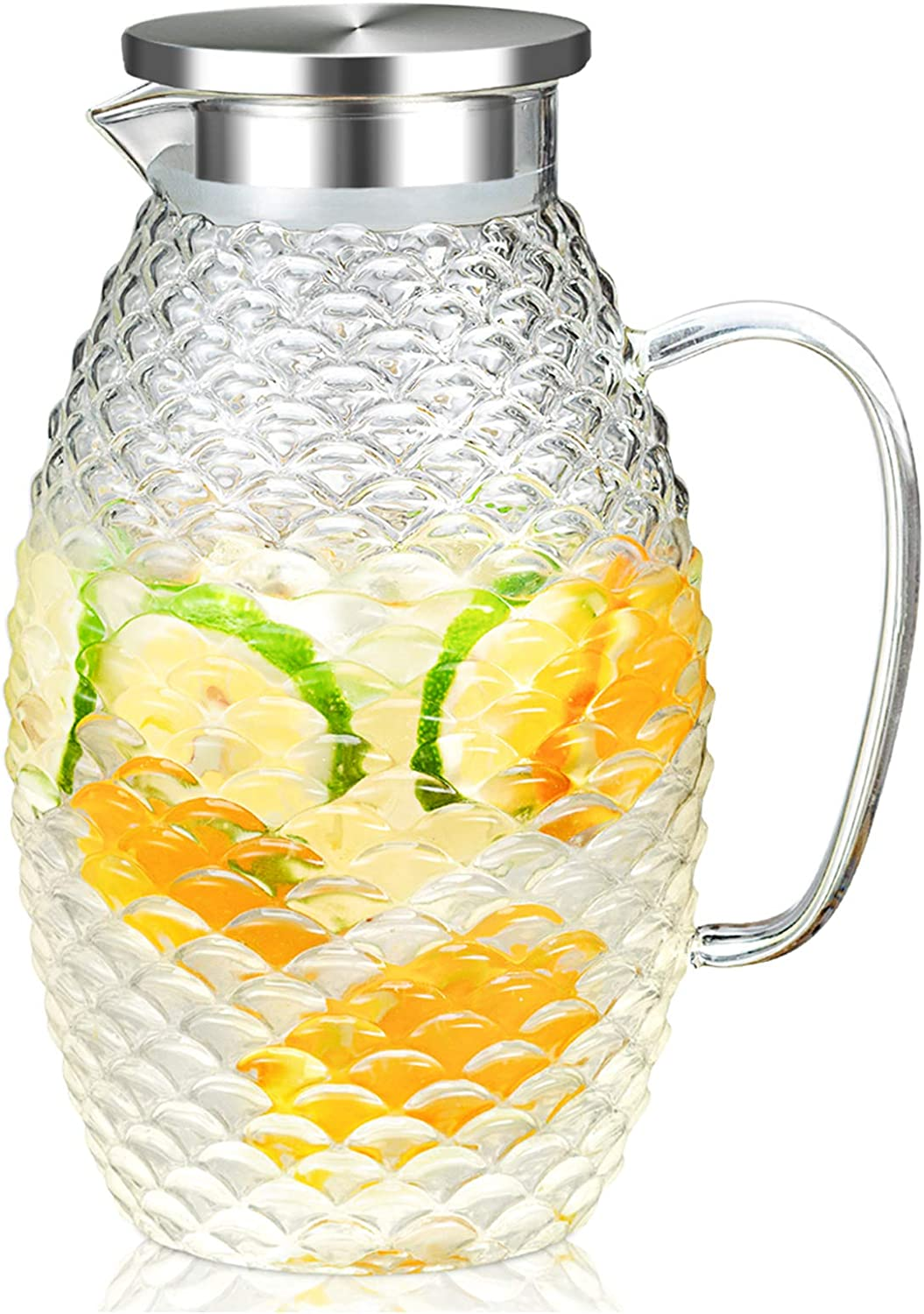 HIHUOS 2 Liters Glass Water Pitcher With Pineapple Shape and Tight Stainless Steel Lid, Carafe With Long Comfortble Handle, Good Beverage Pitcher for Homemade Juice & Iced Tea