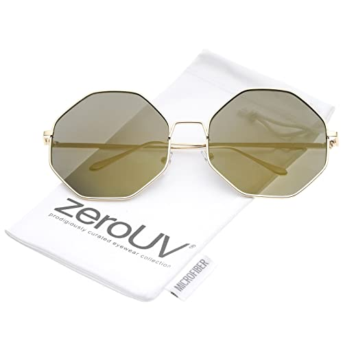 3292a79cc26 Oversize Metal Frame Slim Temple Colored Mirror Lens Hexagon Sunglasses 63mm