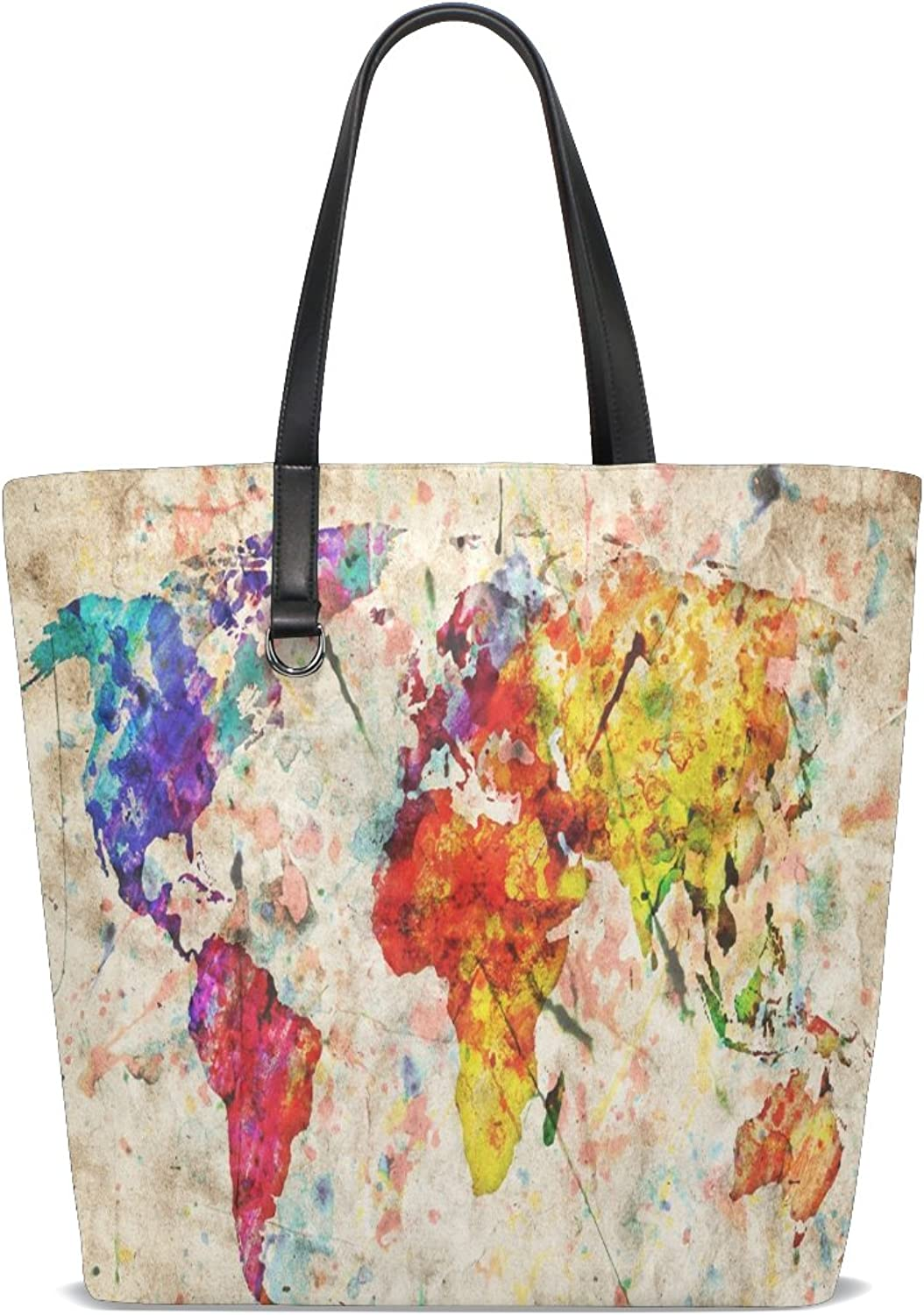 Women's Tote,Cicily Vintage World Map colorful Paint Watercolor Stylish Lady Handbags Shoulder Bags for Teen Girls Portable bags for Shopping Washable