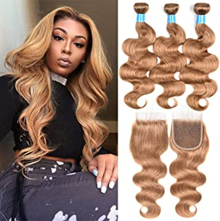 JulyQueen Brazilian Human Virgin Hair Honey Blonde Color Body Wave Hair Extension 3 Bundles with Lace Closure Color 27 Human Hair(20 22 24+18closure)