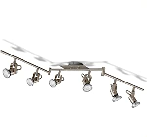 Leds para el techo I lámpara de techo orientable I incl. 6 bombillas de 5 W I focos flexibles para el techo I lámpara de salón I 6 focos I moderna luz para el techo I metal I color níquel mate I 230 V