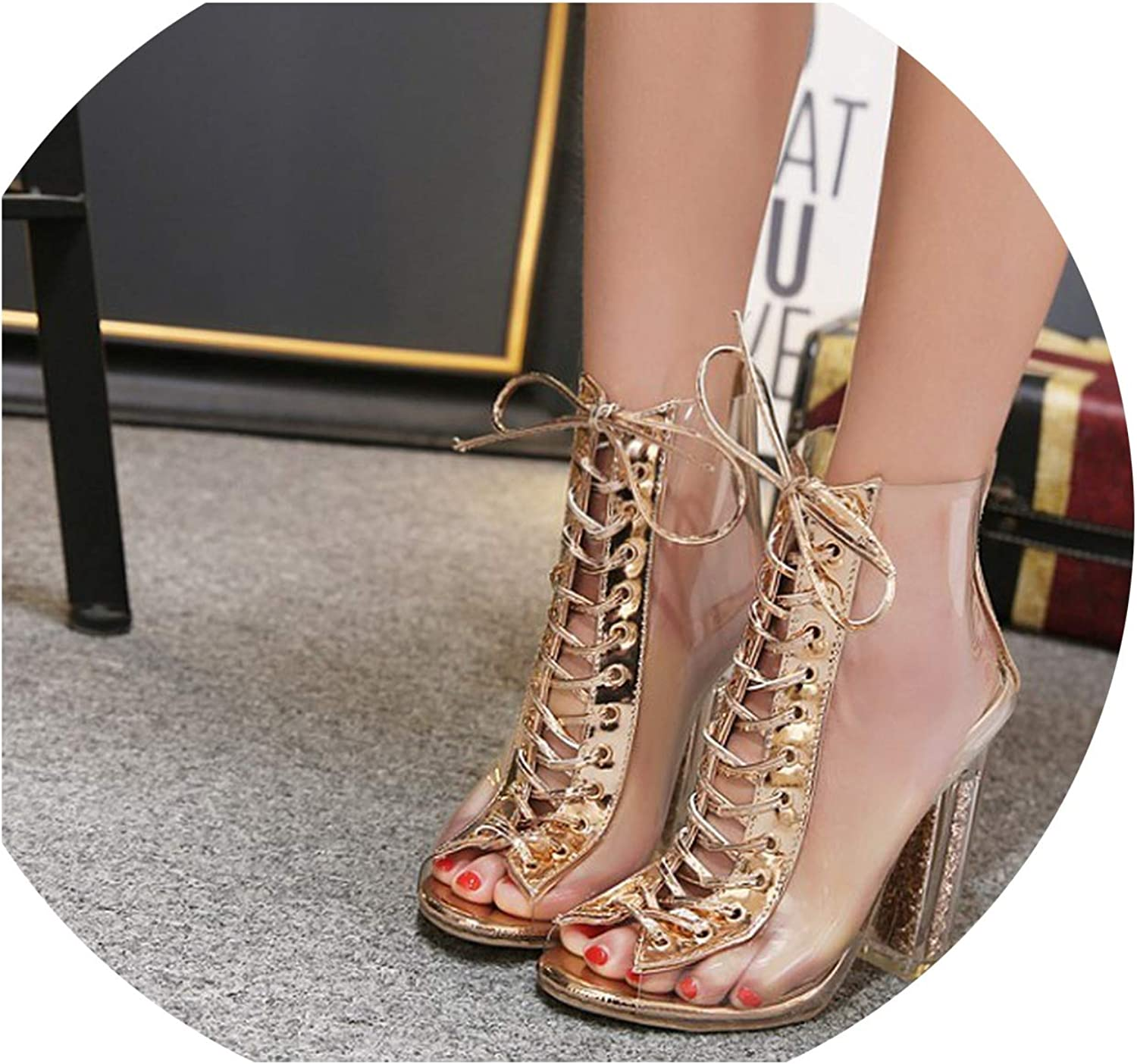 Sexy Women Summer Sandals Sequined shoes PVC Transparent Sandals Cross Strappy Peep Toe Clear Chunky Heels Ankle Boots,Clear,4.5