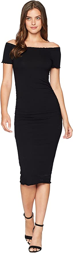 Michael Stars Cotton Lycra Off Shoulder Dress with Removable Straps