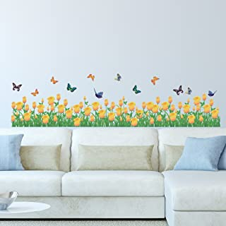 Amazon Brand - Solimo Wall Sticker for Home (Yellow tulip farm, ideal size on wall , 135 cm X 35 cm),Multicolour