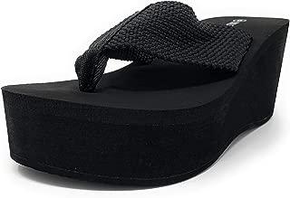 Wild Diva Womens Heat High Platform Wedge Flip Flop Sandals