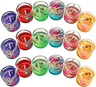 The Party Shopers Luxury Small Multicolor Smokeless Decorated Mini Cute Little Glass Jelly Gel Candles for Home Decor Diwa...