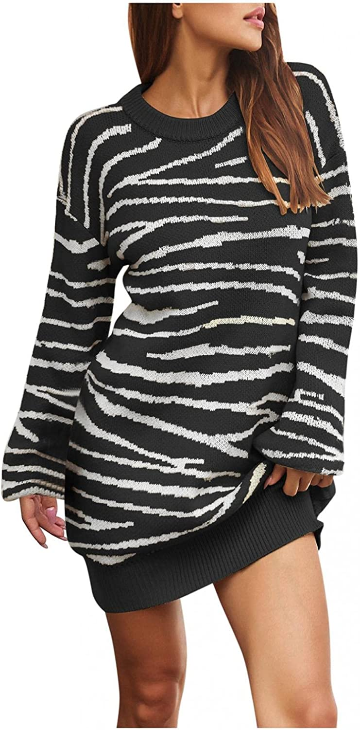 iLUGU Women's Sales for sale Casual Knitted Sweater Free Shipping New Oversized Neck Crew S Dress
