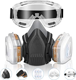 DK177 Half Facepiece Reusable Cover,Personal Protective Cover with Filters for Dust,Painting, Chemical Clean-up,Sanding, S...