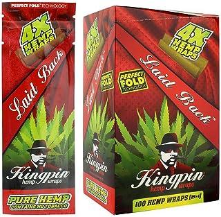 Kingpin Pure Hemp Wraps - Sealed Display Box - 100 (25 x 4) Hemp Wraps per Box - (Laid Back)