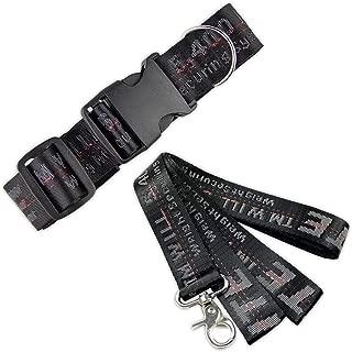 Off White Black Color Industrial Belt Strap Dog Collar and Leash Set