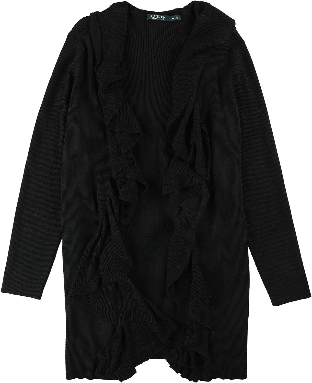 Ralph Lauren Womens Ribbed Cardigan Sweater Black Xl