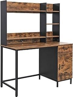 VASAGLE Bureau, Table, avec étagères de Rangement, Placard et tiroir, Bureau àdomicile, Montage Facile, Cadre en Acier, St...