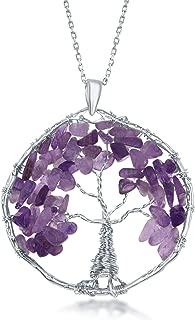 Sterling Silver Amethyst/Peridot/Citrine Natural Gemstone Beads Tree of Life 30