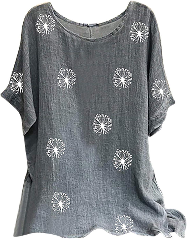 Womens Summer Vintage Bohemian Cotton Linen Shirts O Neck Short Sleeve Dandelion Print Babydoll Shirt Blouse Tunic Top