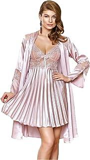 Nurteks Lingerie Pleated Satin Nightgown With Kimono Robe For Women