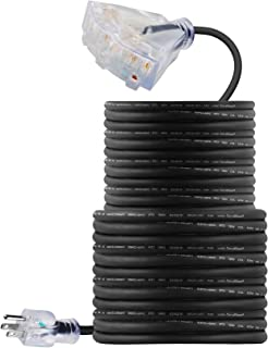 100 FT 14/3 Outdoor Extension Cord - Rubber, Flexible, Triple Outlet, Black Wire with Live Power Light Indicator. 15 Amp