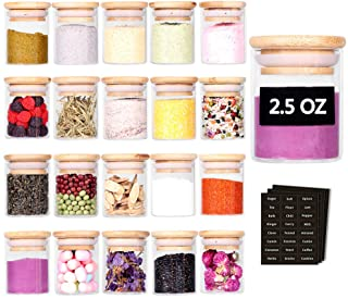 Tzerotone Spice Jar Set,2.5oz 20 Piece Glass Jar with Bamboo Airtight Lids and Labels, Mini Clear Food Storage Containers ...