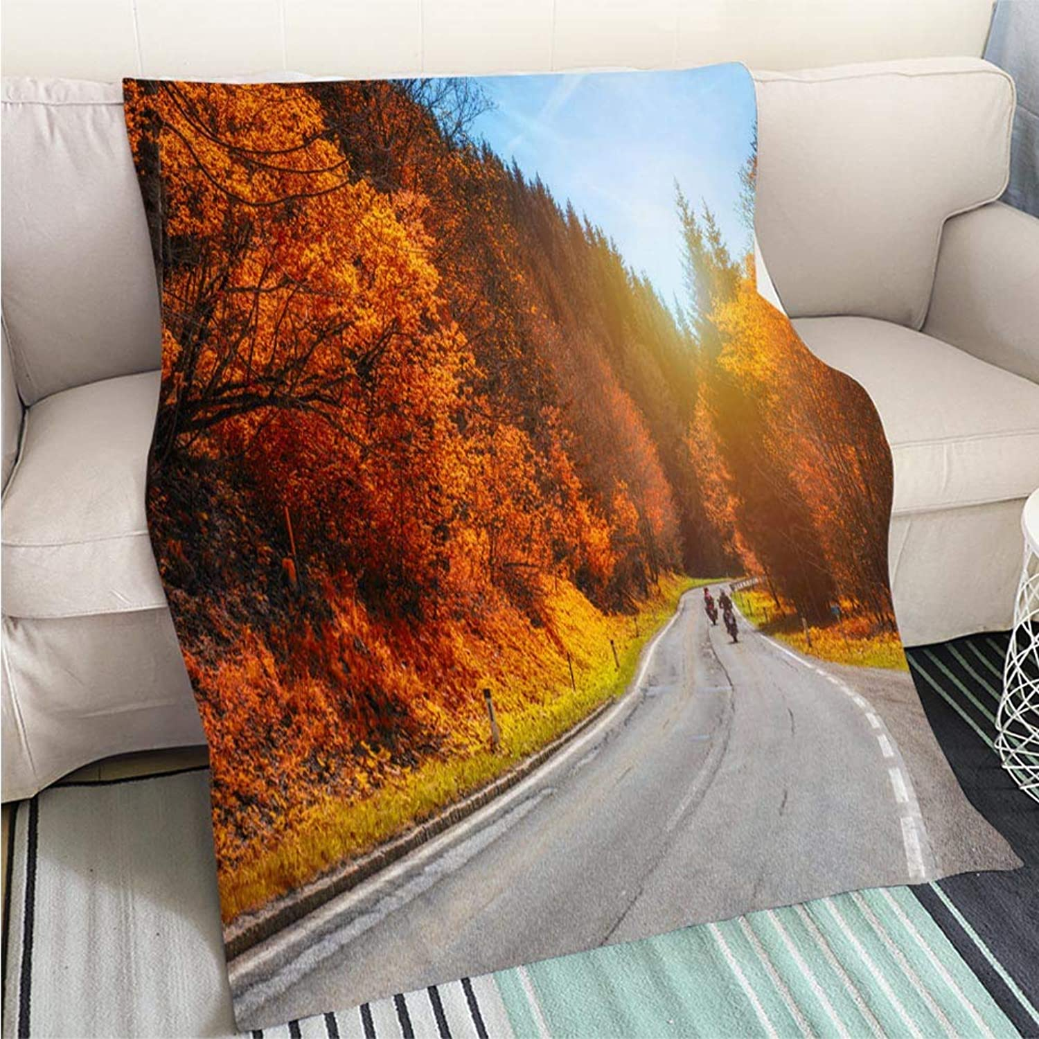 BEICICI Art Design Photos Cool Quilt Bikers on Mountainous Highway Biker on The Road in Sunset Light in Autumn Riding on Curve Road Pass Across Alpine Art Blanket as Bedspread gold White Bed or Couch