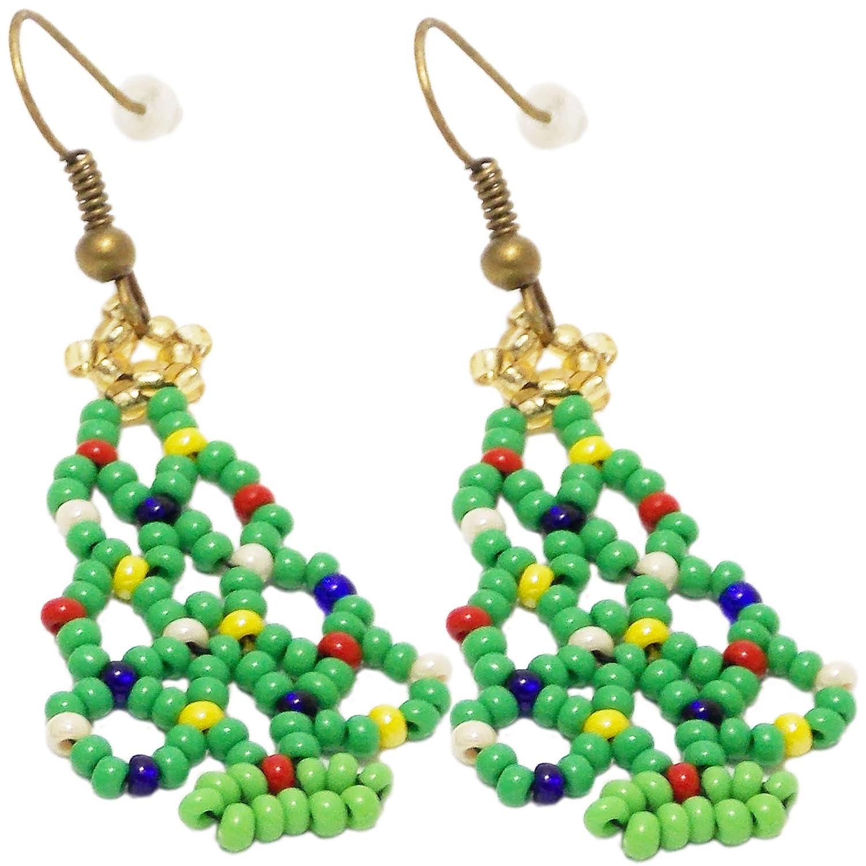 Handmade Green Christmas tree Washington Mall jewelry Popularity ea Holiday beaded colorful
