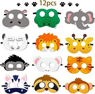 12 Pcs Animal Felt Masks Jungle Safari Theme Party Favors Kids Costumes Dress-Up Party Supplies