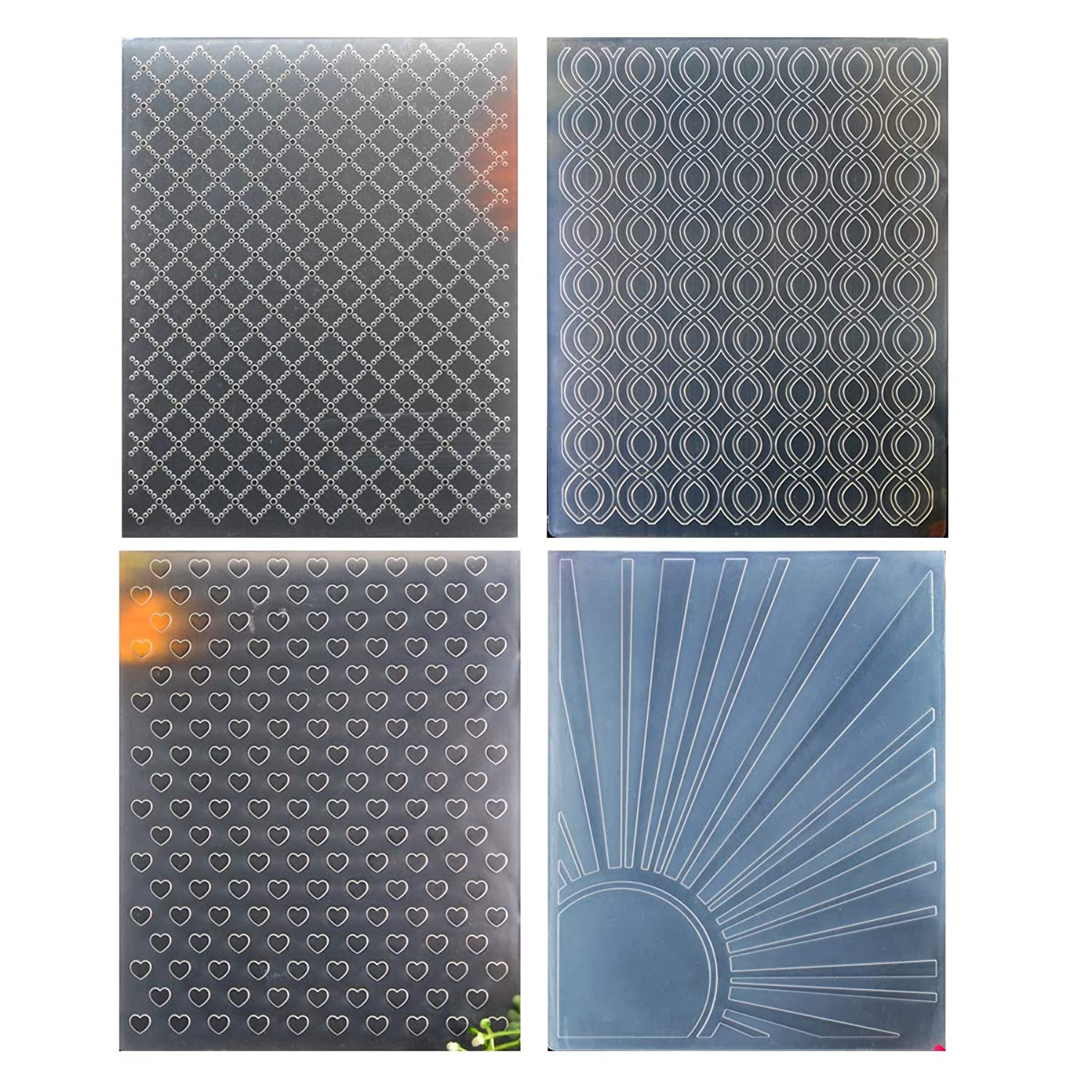 Kwan Crafts 4 pcs Different Style Lattice Twist Heart Sunshine Plastic Embossing Folders for Card Making Scrapbooking and Other Paper Crafts, 12.1x15.3cm