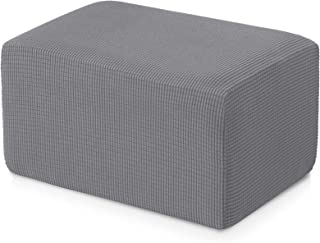 subrtex Stretch Storage Ottoman Slipcover Protector Spandex Elastic Rectangle Footstool Sofa Slip Cover for Foot Rest Stool Furniture in Living Room (Oversize, Light Gray)