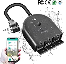 VAVOFO Outdoor Smart Outlet with 3 Sockets, WiFi Smart Plug Compatible with Alexa Google Home, IP44 Waterproof, Wireless Remote Control Timer & Countdown by Smartphone APP