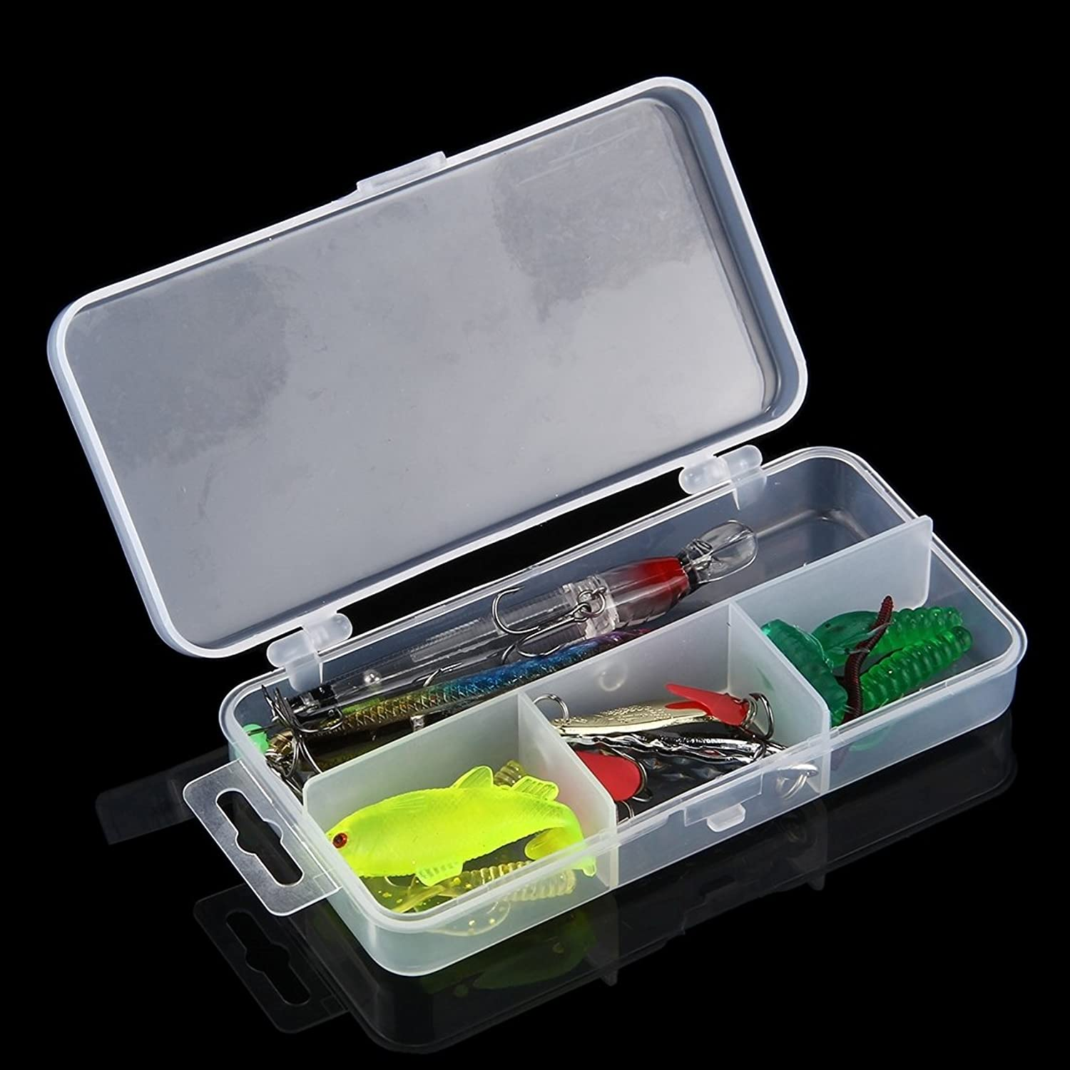 Tool 23 in 1 Fishing Lure Set with 2 Hard Bait & 3 Sequins Lures & 11 Soft Lures & 2 Hooks & 1 Fishing Sinker & 2 Ring Pins &2 Luminous Beads Outdoor