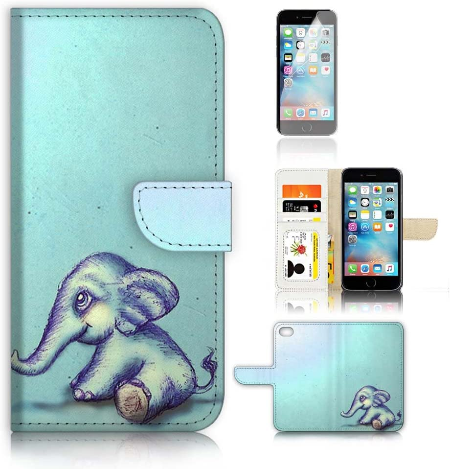 Pinky Beauty Australia (for iPhone 8 / iPhone 7 / iPhone SE 2 (2020)) Wallet Case Cover & Screen Protector Bundle! A8130 Elephant