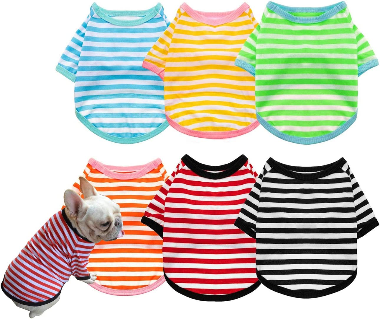 Now on sale UNGGOY Dog Shirts Pet Clothes Striped Ves 2 Clothing Puppy Pack Genuine Free Shipping
